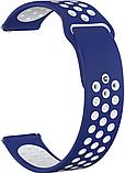 Ремешок для Samsung Gear S3 | Samsung Galaxy Watch 46 | Galaxy Watch 3 45mm силиконовый 22мм Сине Белый, фото 3
