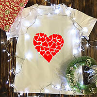 Мужская футболка с принтом - Сердце из сердечек