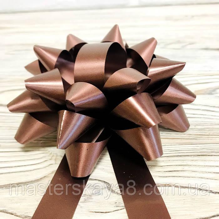 Бант декоративный диаметр 12см, цвет коричневый с лентой