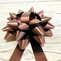 Бант декоративный диаметр 12см, цвет коричневый с лентой, фото 1