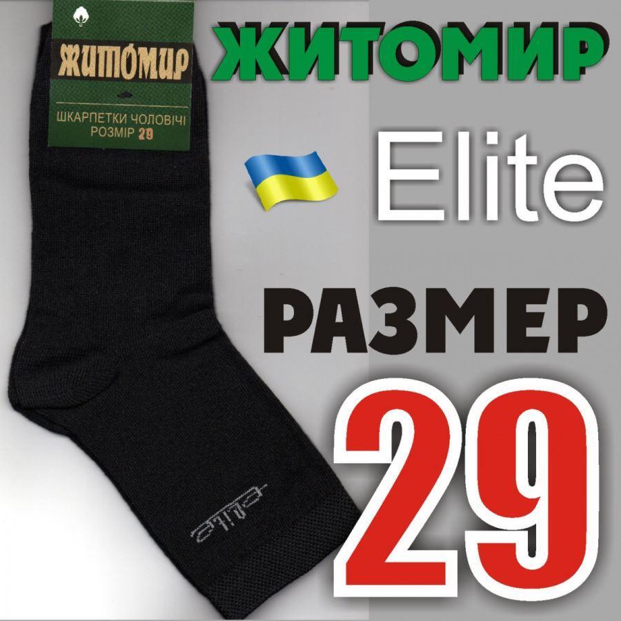 Мужские демисезонные носки Житомир Elite Украина 29р.чёрные НМД-05422