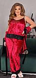 Спальний комплект жіночий халат майка штани мармуровий оксамит розмір: 52, 54, 56, фото 3