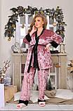 Спальний комплект жіночий халат майка штани мармуровий оксамит розмір: 52, 54, 56, фото 2