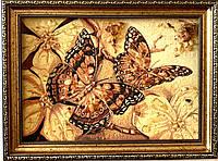 "Картина из янтаря "" Бабочки "" 30x40 см"