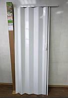 Дверь гармошка глухая 810 х 2030 х 6  Белый ясень №1