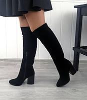 Высокие замшевые сапоги на каблуке в наличии, фото 1