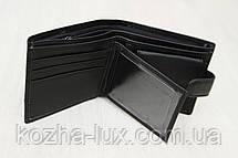 Портмоне мужское кожаное чёрное стандарт, натуральная кожа, фото 2