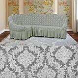 Натяжные чехлы на угловой диван и кресло турецкие Серый жаккардовый с оборкой Разные цвета, фото 8