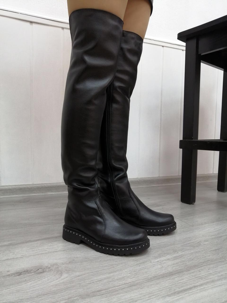 Женские кожаные высокие ботфорты в наличии