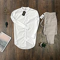 Мужской комплект Asos рубашка в белая и брюки бежевые, костюм стильный