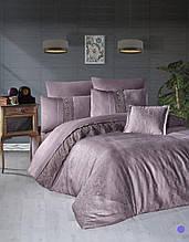 Комплект постельного белья сатин Moonlight first choice евро размер Florenza лиловый
