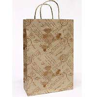 """Пакет подарочный бумажный крафт Stenson M """"Письмо с печатью на буром"""" 24*37*10 см (10 штук в упаковке)"""