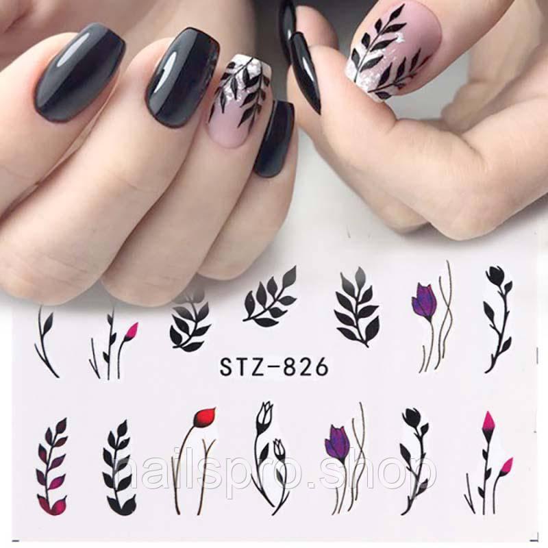 Наклейки для дизайну нігтів Stz - 826