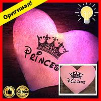 Мягкая Подушка сердце ночник с надписью Princess, светящаяся подушка, подарок на День Святого Валентина