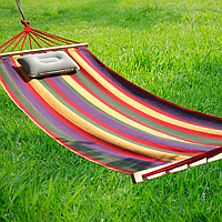 Гамак подвесной тканевый с планкой для дома дачи сада 200x100 см Гамак садовый с перекладиной для отдыха