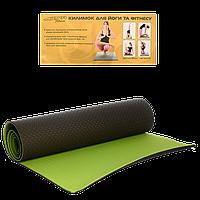 Коврик для йоги и фитнеса двухсторонний (йогомат) MS 0613-1 TPE 183-61 см черный с зеленым 6 мм