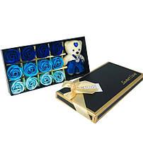 Подарочный набор с розами из мыла Sweet Love 12 шт Синие с мишкой