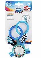 Подвесная игрушка Canpol babies плюшевая с погремушкой 0+ Zig Zag синий Кролик 68/058
