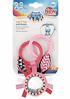 Подвесная игрушка Canpol babies плюшевая с погремушкой 0+ Zig Zag розовый Кролик 68/058