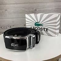 Мужской кожаный ремень Lacoste Лакоста брендовый пояс пряжка автомат в подарочной коробке