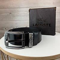 Мужской кожаный ремень пояс Lacosta Лакоста брендовый из натуральной кожи в подарочной деревянной коробке