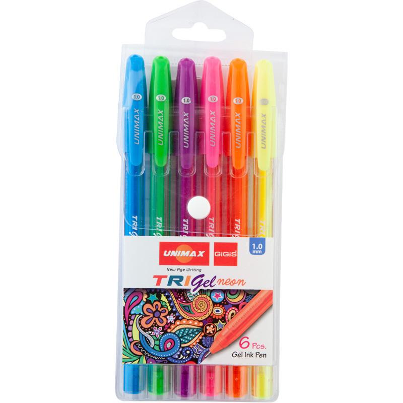 Ручка гелева Trigel Neon, набір 6 кол., асорті