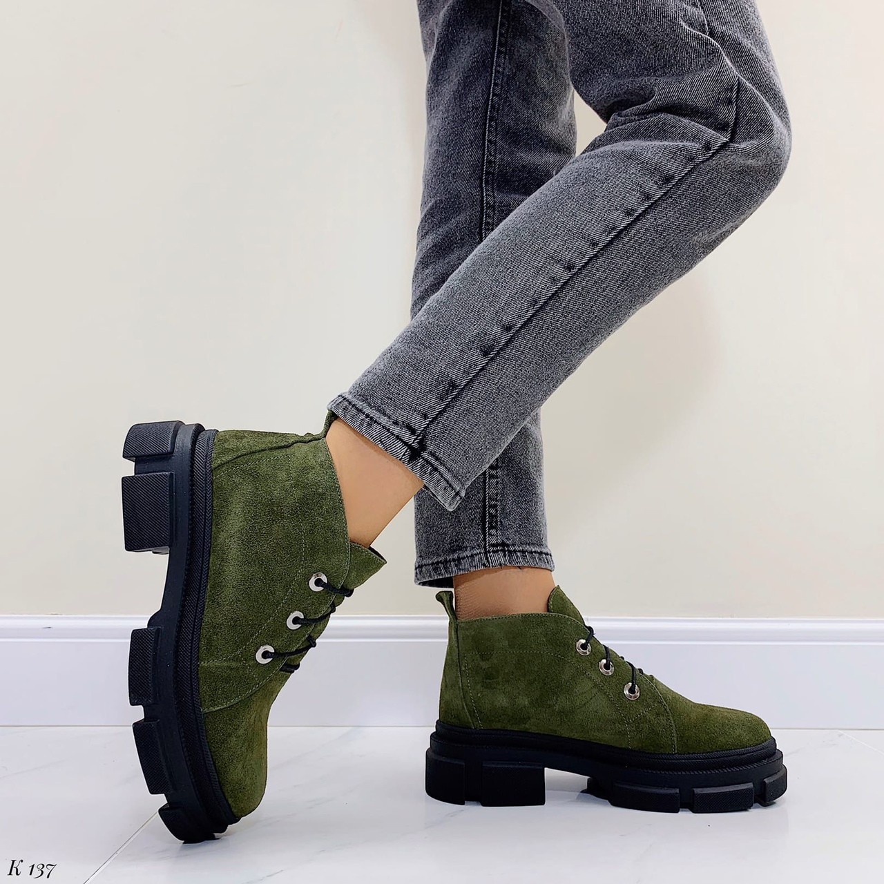 Темно зелені черевики