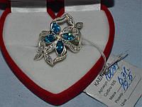 Серебряное кольцо  Цветы 925 пробы с голубыми цирконами, фото 1