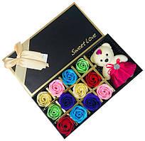 Подарочный набор с розами из мыла Sweet Love 12 шт Разноцветные с мишкой
