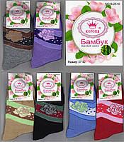 """Цветные носки с розами женские-подросток демисезонные х/б """"КОРОНА"""" бамбук 37-42 НЖД-02194"""