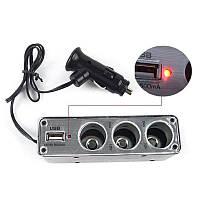 Разветвитель прикуривателя с 3-мя выходами + USB WF-0096_1087