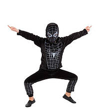 Дитячий карнавальний маскарадний костюм Людини - павука чорний велюровий розмір: 28, 30, 32
