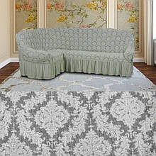 Чехол на угловой диван кресло натяжной турецкий с оборкой Светло серый жаккардовый Разные цвета