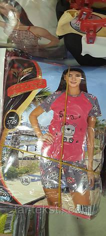 Пижама женская с шортиками качество хлопок и лайкра ТУРЦИЯ 5749, фото 2