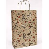"""Пакет подарочный крафт """"Париж на буром"""" 24*37*10см  (только по 10 штук)"""