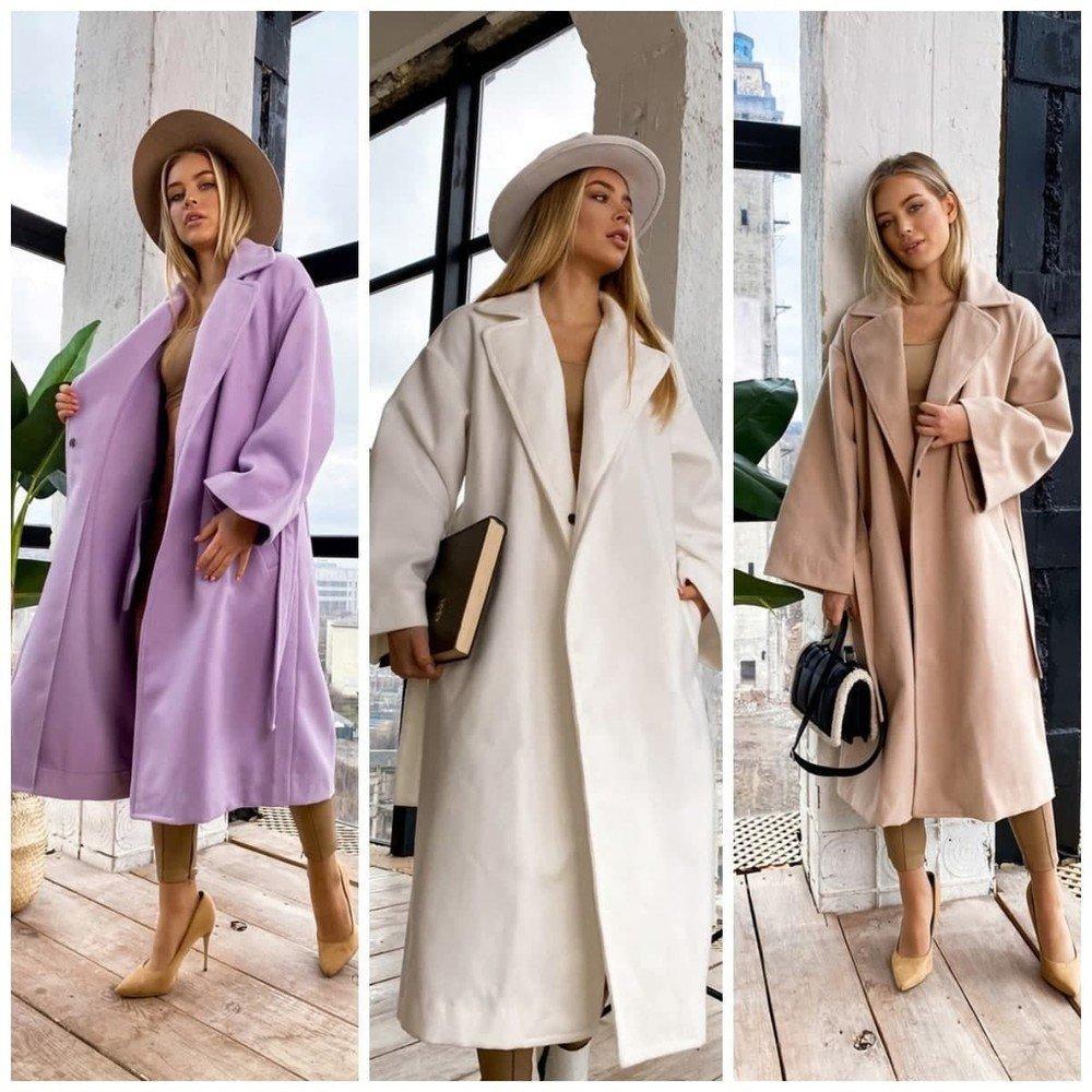 Элегантное женское пальто демисезонное кашемировое длинное на кнопках под пояс 3 цвета