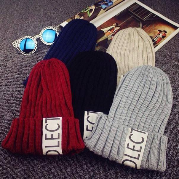 Вязаная шапка с отворотом (разные цвета)