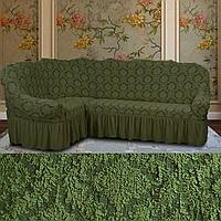 Натяжные чехлы на угловые диваны и кресло, еврочехол на угловой диван накидка жаккардовый Турция Зеленый
