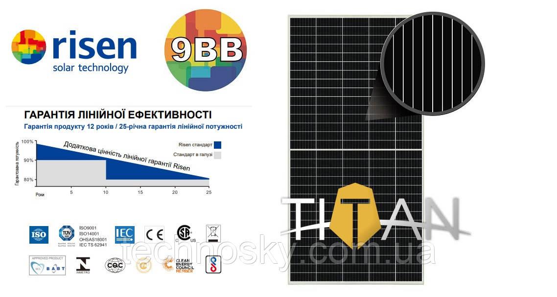 Сонячна монокристаллическая батарея Risen RSM150-8-500M 9BB 500Вт 36В