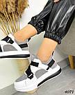 Женские кроссовки белого/серого цвета, натуральная кожа/натуральная замша, фото 3