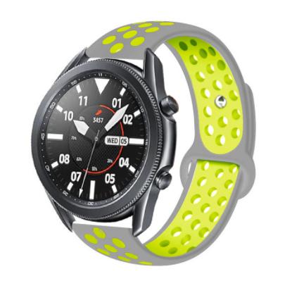 Ремешок для Samsung Gear S3   Samsung Galaxy Watch 46   Galaxy Watch 3 45mm силиконовый 22мм Серо Желтый