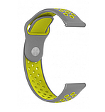 Ремешок для Samsung Gear S3   Samsung Galaxy Watch 46   Galaxy Watch 3 45mm силиконовый 22мм Серо Желтый, фото 2