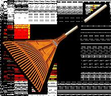 Грабли веерные - 24 зубца, черенок деревянный,  KT-CX24B