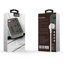 Сетевой удлинитель фильтр Ldnio SE3604 3 Розетки + 6 USB, 1,6 м, сечение 3х0,75мм, Black/White 2500W 10A, 3.4A, фото 3