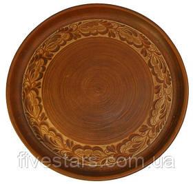 Блюдо глиняное 380 мм ангоб плоское
