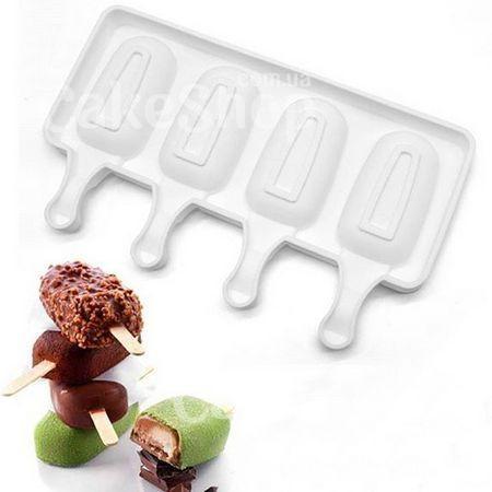 Силиконовая форма для евродесертов Мороженое Эскимо 4 шт