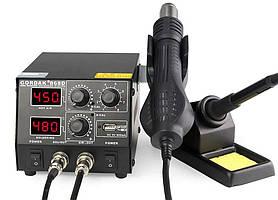 Паяльна станція Gordak 868D, термофен, паяльник, два дисплея, металевий корпус