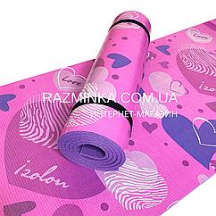 Детский коврик каремат Сердца 1800*550*8мм (розовый)
