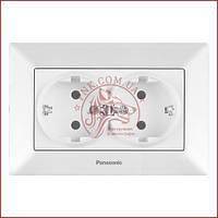 Розетка подвійна з заземленням біла Panasonic arkedia slim (WNTC0205-2WH) (480200222)