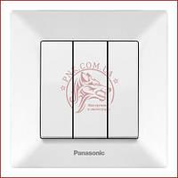 Вимикач потрійний білий Panasonic arkedia slim 250V 10A (WNTC0015-2WH) (480100196)